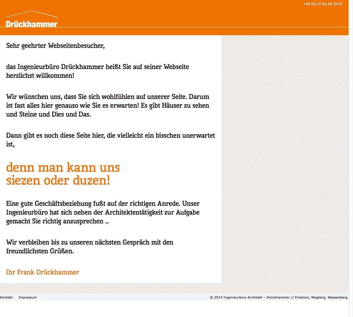 Siezen Sie mich! » Ingenieurbüro Architekt - Drückhammer -- Erkelenz, Wegberg, Wassenberg