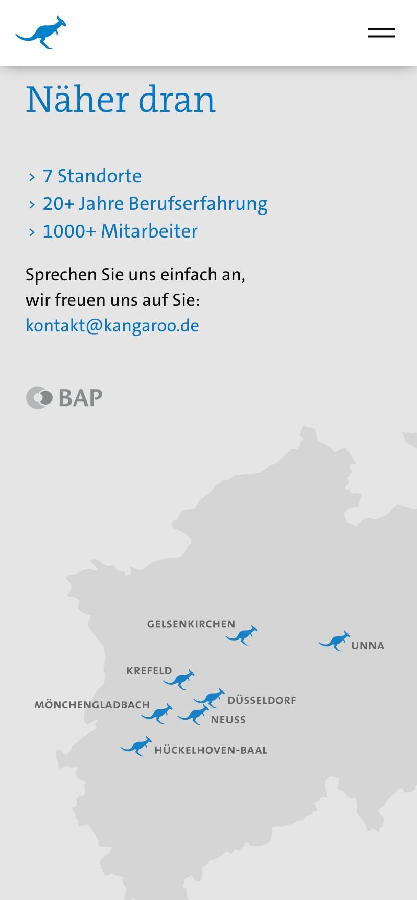 Landkarte NRW mit Standorten